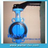 Manual de ferro fundido da válvula de borboleta tipo wafer para trabalhos de Água