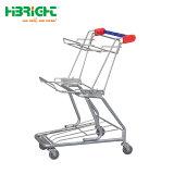 Carrinho de Compras de metal de dobragem de supermercados com 2 cestos
