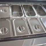 Visualizzazione commerciale del gelato del piano d'appoggio dell'acciaio inossidabile con il sistema di raffreddamento dell'inclusione