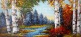 L'huile artisanal multicolores Birch Tree peintures pour décoration murale