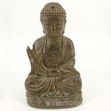 Resina de interior de la antigüedad de la decoración que sienta las estatuas de Buddha