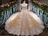 Vestido de casamento lindo do vestido de esfera do laço da ilusão