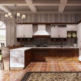 Gabinetes de cozinha modernos personalizados da madeira contínua da bancada da pedra de quartzo