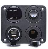 Chargeur USB double socket 2.1A&2.1A + VOYANT Voltmètre + prise 12V + interrupteur à bascule on-off quatre fonctions de bord pour Voiture Bateau camion RV Camper véhicules marins Gp