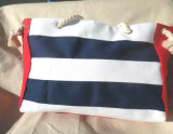 Nova bandeja de saco de lona listrado Hit casual de cores simples Saco de ombro selvagens Saco grande