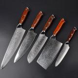 Профессиональный набор ножей на кухне (5шт.) Дамаск Vg10 нож с золотой благоухающем курорте деревянной ручкой