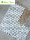 Penny blanc de mosaïque de Carrare rond pour le carrelage
