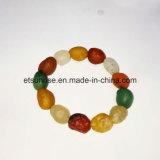 Da forma áspera do ovo da ágata da pedra Semi preciosa bracelete frisado de cristal