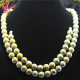 Elegant Germanium Bead Necklace Yellow Tourmaline Jóias