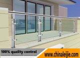 Barandilla de cristal de la escalera portable/pasamano del vidrio Tempered/barandilla de cristal del balcón con el poste redondo