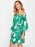 Smogл взвалить платья печатание джунглей уравновешивания оборки Bardot женщин