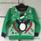 Jungen-Pinguin-Acrylüberbrückungsdraht - Weihnachtszutreffende Kinder strickten Strickjacke
