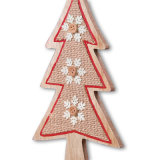 Disegno di legno dell'Mini-Albero per la decorazione di natale o la decorazione del ripiano del tavolo in azione