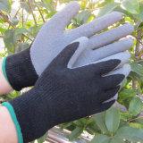 Gant enduit de travail de main de jardin de sûreté de gants de latex bleu