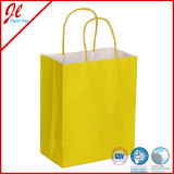 2pk Eco Solid Kraft Bolsas de papel Brown Kraft Gift Bags com Yellow Twisted Handle