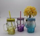 Vaso di muratore di vetro variopinto 10oz di buoni prezzi all'ingrosso con la maniglia