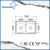 Boven de TegenGootsteen van de Keuken van Moduled van het Roestvrij staal (acs-7843B)