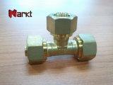 Encaixes de bronze da imprensa do cobre da compressão na linha do NPT para a tubulação