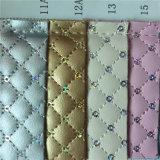 La moda pequeña cuadrícula bordado Bolsa de cuero artificial Sequin bordado