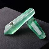 Tubulação de fumo material natural de fumo da tubulação da mão da fluorite do verde da tubulação da mão