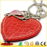 Form-Geliebt-Geschenk-rotes Inner-geformte lederne Schlüsselkette