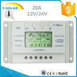 регулятор T20 обязанности батарей панели солнечных батарей 20A 12V 24V USB-5V