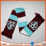 Связанный акриловый шарф футбольного болельщика вентилятора футбола жаккарда