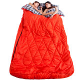 220*145cmの二重カップルの屋外の暖かい寝袋のフランネルはさみ金の寒い気候の大人のキャンプの厚い固定のWarmlazy袋