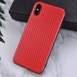 Texture en fibre de carbone durables couvercle TPU souple pour iPhone x