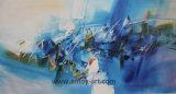 Peintures abstraites bleue verticale de l'huile pour la décoration de style nordique de l'art mural