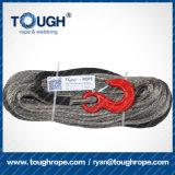 10mm x 30mのホックの指ぬきの袖の端のラグナットが付いている灰色の総合的なウィンチラインケーブルロープ20500lbs
