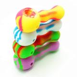 Tubo creativo del consumo de tabaco del silicón del nuevo diseño pequeño con el tazón de fuente de cristal