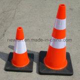 cone flexível macio alaranjado do tráfego do PVC de 70cm com base de borracha