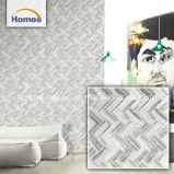 Les niveaux de gris à chevrons de style Art déco mur de verre carreaux de mosaïque pour salle de bains