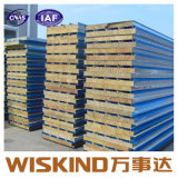 Thickness 50mm, 75mm, 100mm를 위한 외부와 Roofing Rock Wool Sandwich Panel