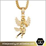 Hip HopのマイクロはCZの天使の翼の吊り下げ式の金によってめっきされるペンダントを舗装する