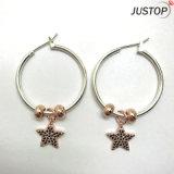 für alles weibliche koreanische Art-reale Rosen-Gold überzogener Zircon-Stein-runder Kreis-Ohrring
