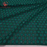 Tessuto 100% di cotone molle del tessuto del merletto del cotone di verde della Nigeria