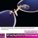 9007 sem rebordo unissexo estilo retro óculos perfurada