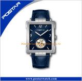 Montre-bracelet en cuir de premiers de marque sports carrés de luxe d'hommes