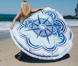 """100%年の綿の円形のビーチタオル150*150cm/59*59の""""浴室タオルのふさの装飾の幾何学的な印刷された浴室タオル"""