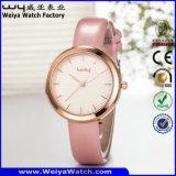Relógio de pulso das senhoras da cinta de couro da forma de quartzo da fábrica (Wy-059B)