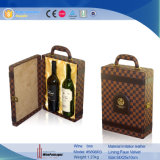 Hot vender 2 botellas de vino Vino de transporte de cuero caja de regalo (5898)