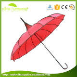 23inch 16K Pagoda 우산을%s 밝은 자주색 직물