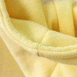 Colore giallo Hoodie di allenamento del pullover della pianura del cotone restretto 100%