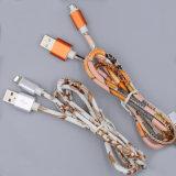 Cuir synthétique coloré de haute qualité câble de données USB pour iPhone
