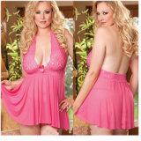 Womens sexy robe col V profond de la Lingerie Lingerie robe dentelle de vêtements de nuit Nuisette solide