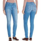 De in het groot van de Katoenen van de Taille van de Jeans van de Fabriek Hoge Jeans van het Denim Vrouwen van de Stof Magere