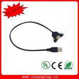 Мужчина удлинительного кабеля USB 2.0 к женщине с отверстиями винта держателя панели