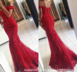 fora do partido do ombro o baile de finalistas veste a matriz vermelha do laço do vestido de noite E02